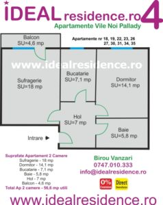 Ideal Residence Ap 2 camere 56,6 mp utili
