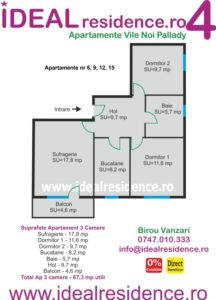 Ideal Residence Ap 3 camere 67,3 mp utili