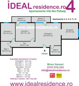 Ideal Residence Ap 3 camere 82,7 mp utili
